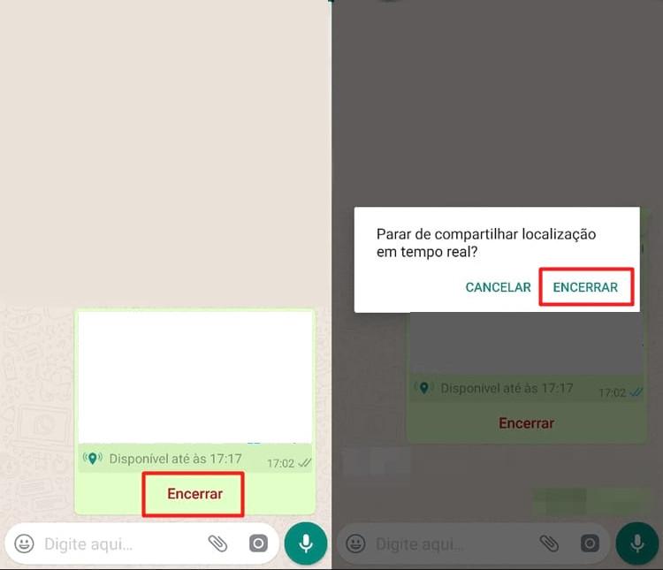 Para encerrar sua localização no WhatsApp, basta apenas clicar em Encerrar