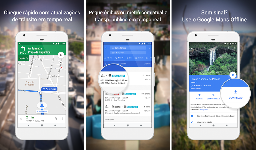 Google maps para android e iphone