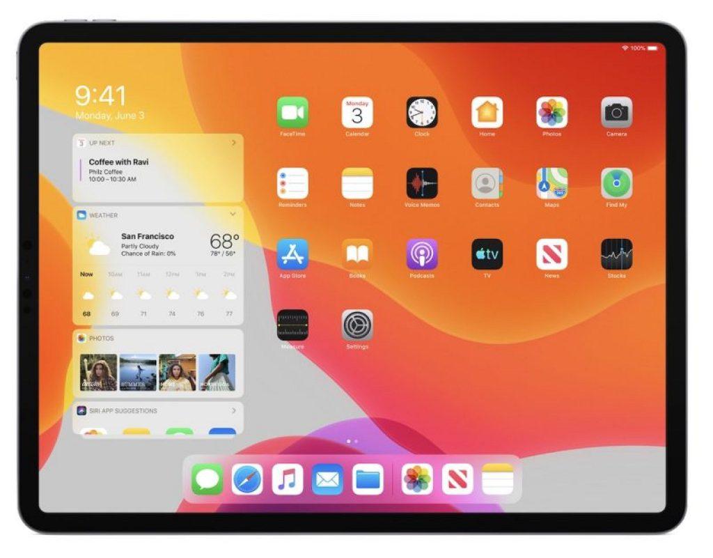 Agora há um novo design da tela inicial, que é específico do iPadOS