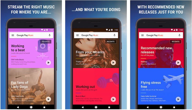 Play Music aplicativos do Google