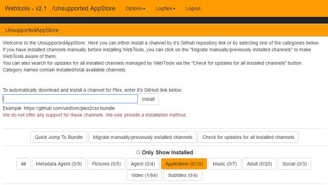 A AppStore não-oficial do Plex é muito útil