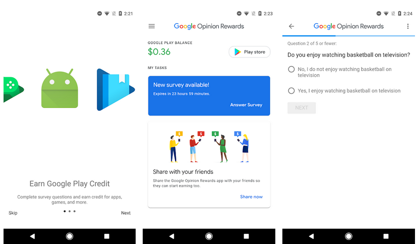 Rewards aplicativos do Google