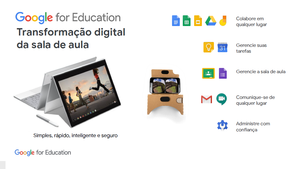 G Suite e Chomebooks fazem parte do Google for Education