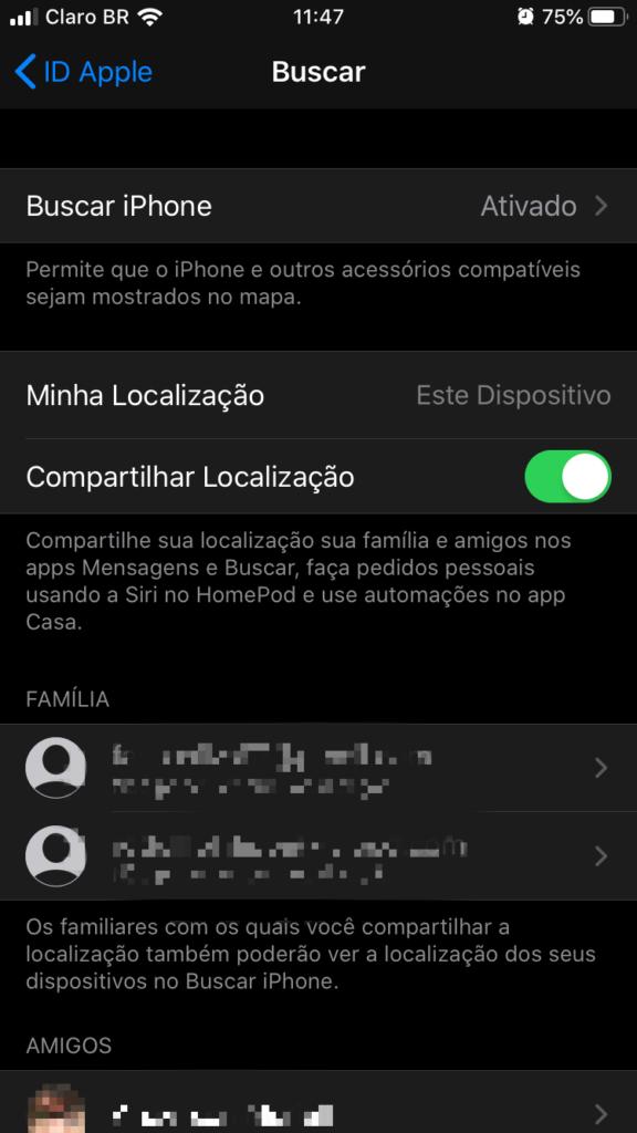 Localização ativa nos iphones