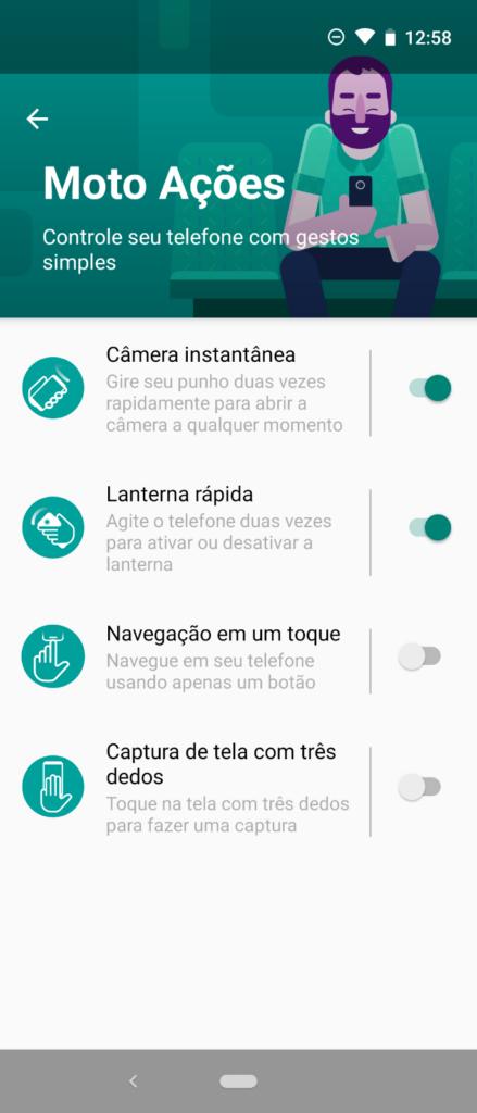 Navegação em um toque do Motorola One Vision