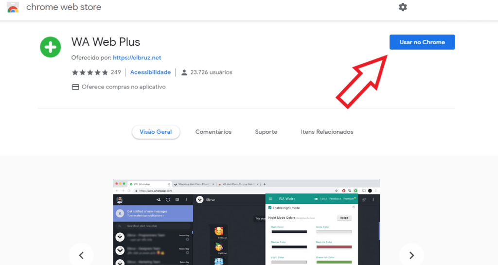 Primeiro, acesse a Chrome Web Store para instalar o plugin WA Web Plus