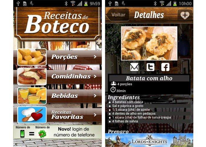 Receitas de Boteco é um dos apps culinários deliciosos