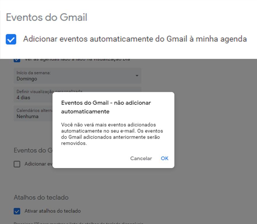 Interrompa a adição de qualquer evento enviado no Gmail ao calendário