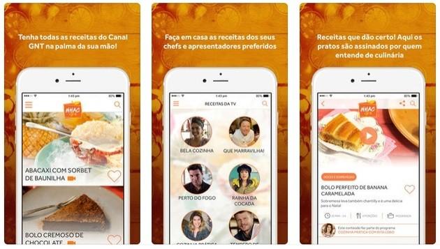 Receitas de chefs do canal disponiveis no app