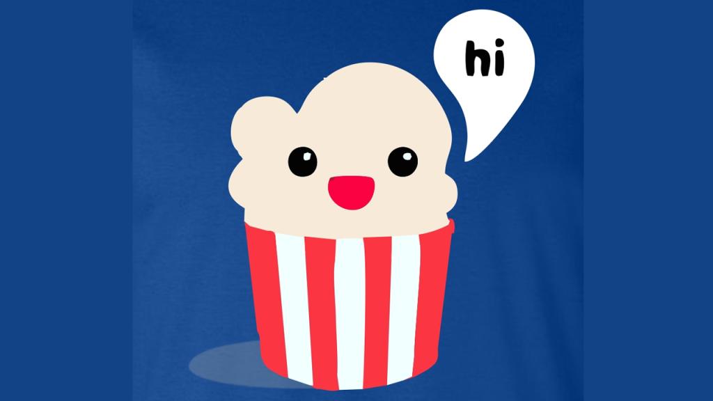 O pacote de pipoca simpático virou o mascote do Popcorn Time