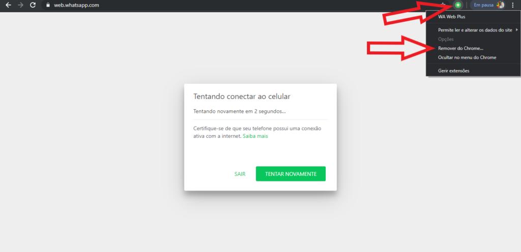 Configuração para remover o WA Web Plus