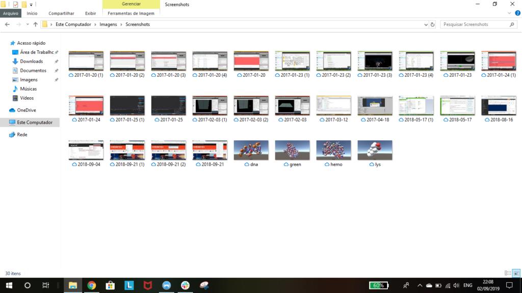 """Ao utilizar a tecla de Print Screen, todas suas capturas de tela ficam salvas na pasta """"Screenshots"""""""