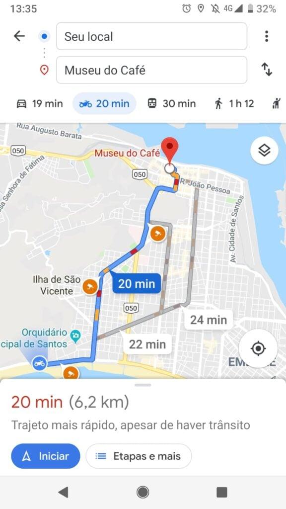 O Modo Motocicleta do Google Maps aparecerá ao lado do Carro e do Ônibus, por exemplo