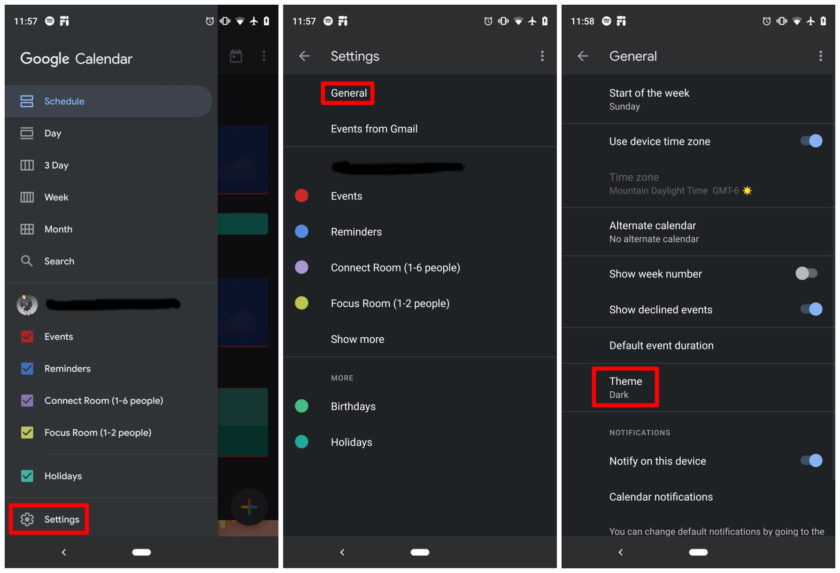 O Google Agenda está disponível para todos os sistemas operacionais, mas o modo escuro está habilitado apenas para Android
