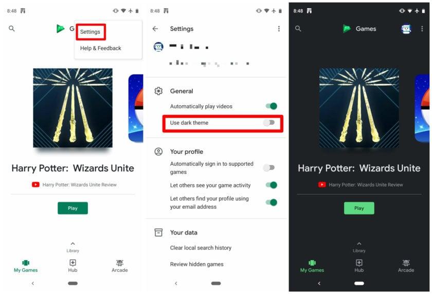 Passo a passo para ativar o dark mode no Google Play Games