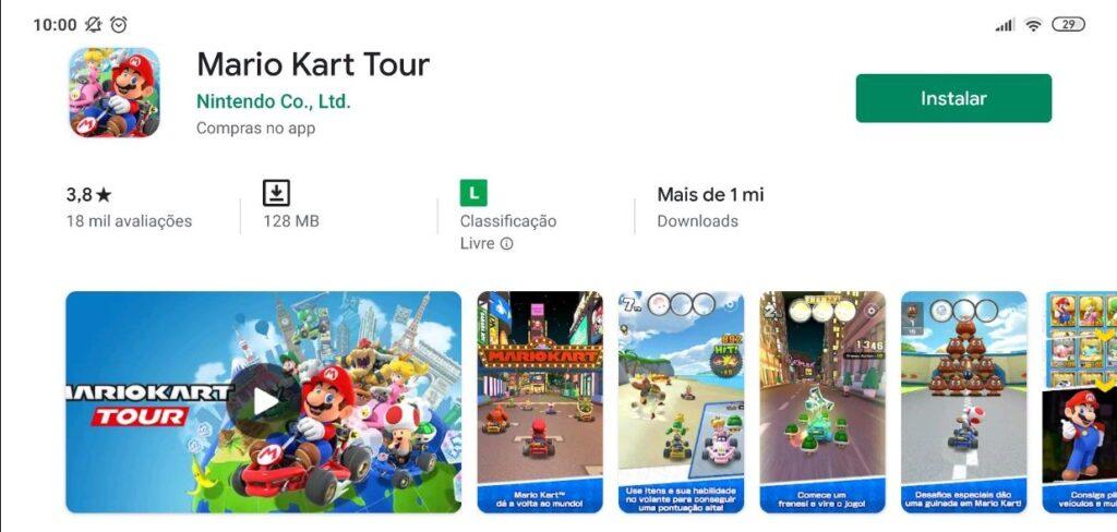 Instalando Mario Kart Tour em dispositivos Android.