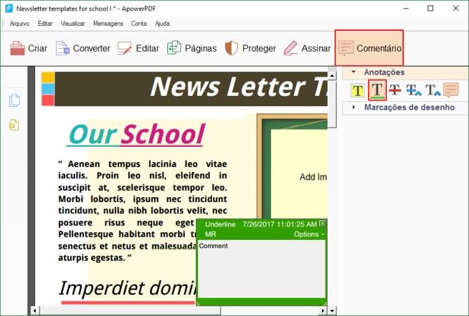 O programa permite que notas e comentários sejam adicionados ao texto base
