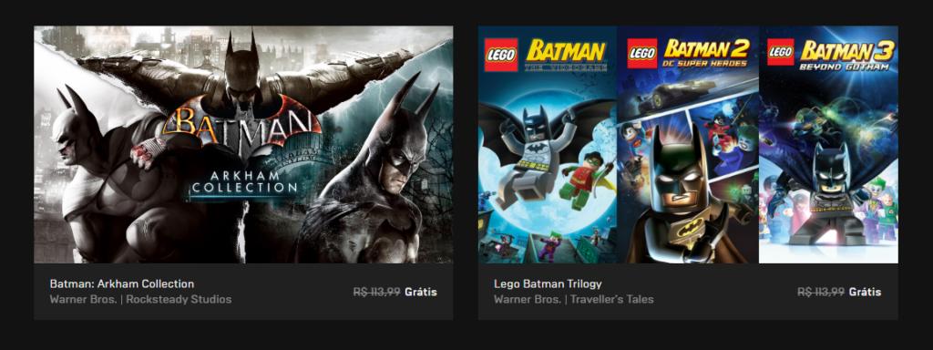 Trilogias batman arkham e lego batman ficam de graça na epic store