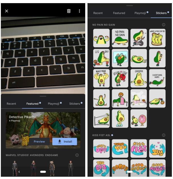 App do Google Playground em modo escuro