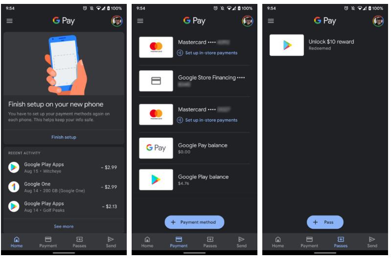 O modo noturno é ativado automaticamente no Google Pay