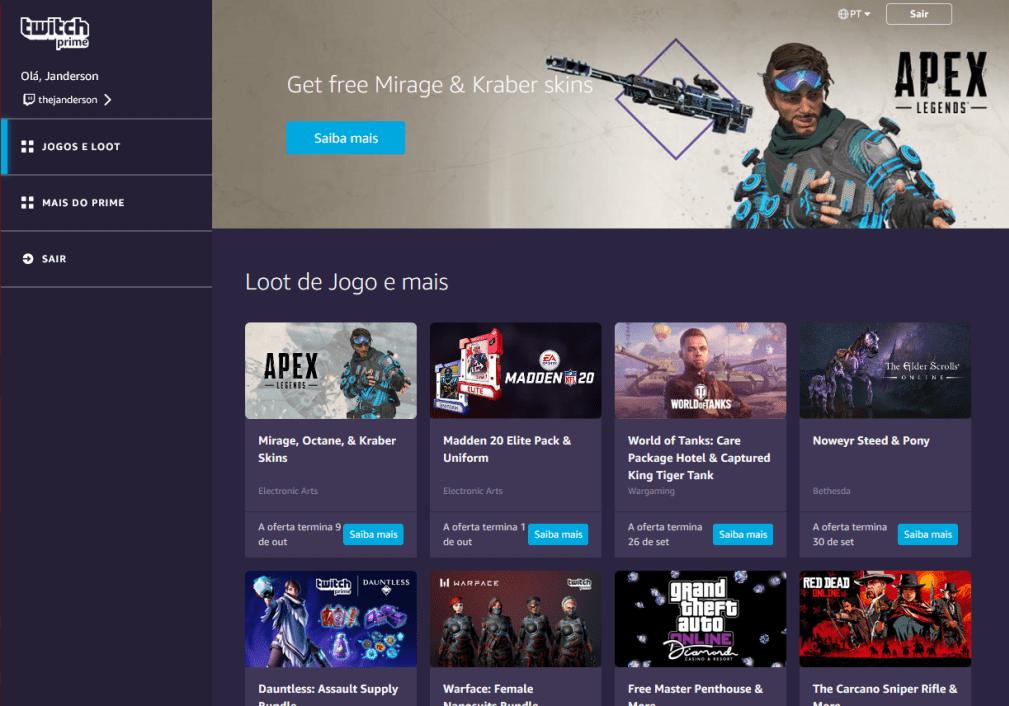 Twitch Prime oferece uma série de benefícios a gamers
