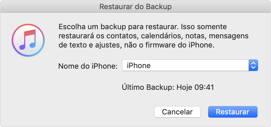 Restaurar backup pelo itunes