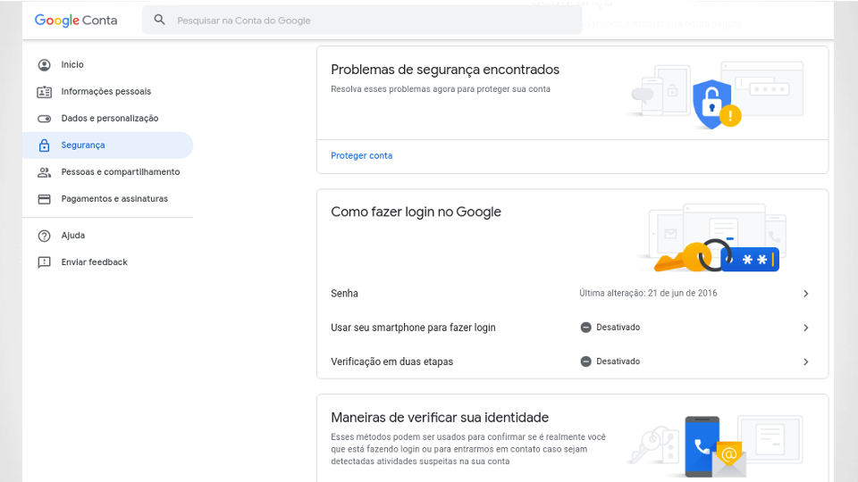 Localização do menu de verificação em duas etapas do Google
