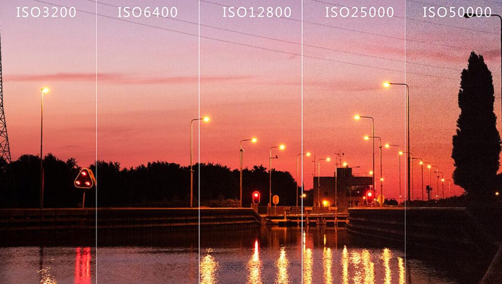 Foto comparativa com a quantidade de ISO