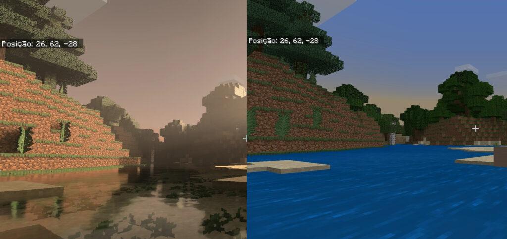 Minecraft com Ray Tracing (a esquerda) e sem a tecnologia (a direita)