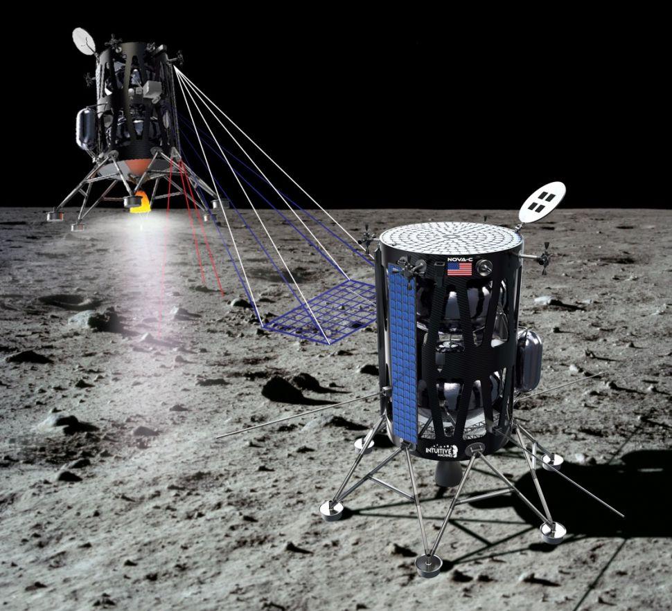 Arte conceitual de como a sonda Nova-C da SpaceX ficará na lua
