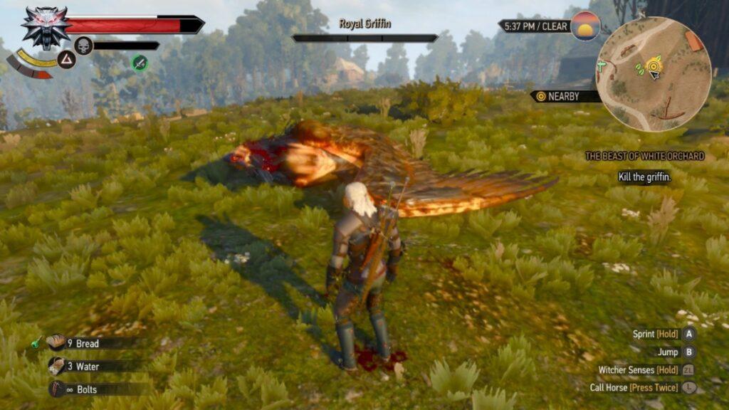 Em The Witcher 3, além de humanos você precisa enfrentar bestas e monstros como grifos
