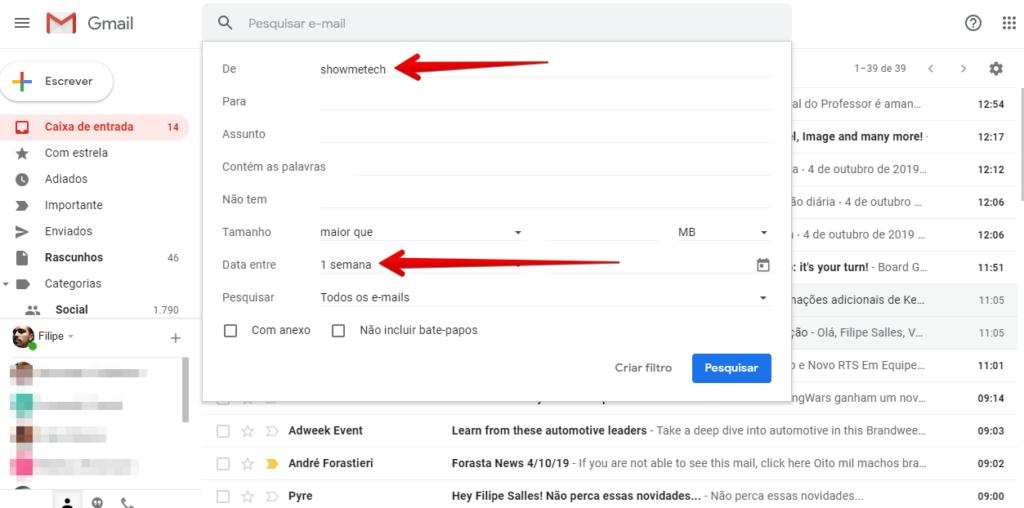 opcões de filtragem para o gmail