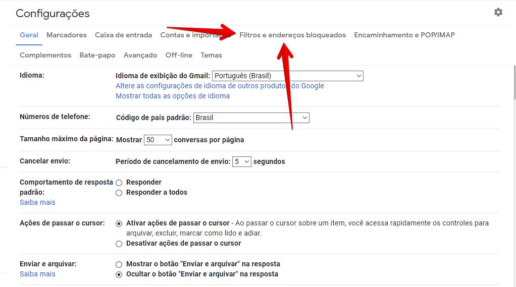 acessar o menu de filtros do gmail