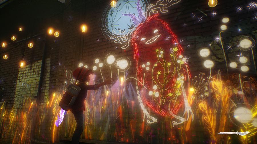 Concrete Genie tem um pouco de combate, mas o foco do game continua nas pinturas e desafios dos cenários