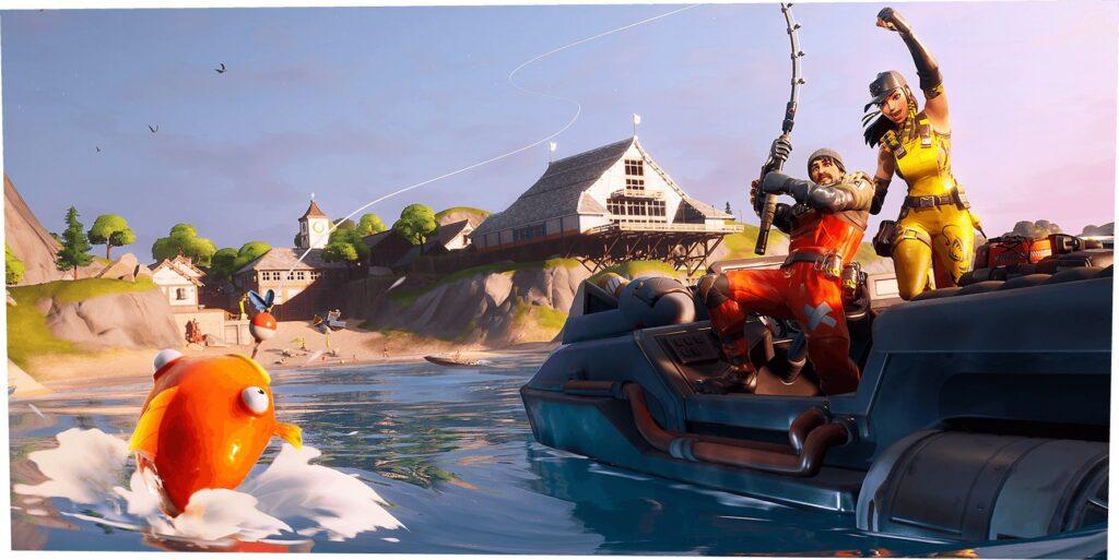 Agora os desafios podem ser também na água, possibilitando que o jorgador nade, pesque e utilize embarcações, em Fortnite