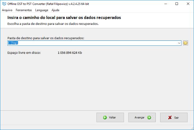 selecione a pasta onde o novo arquivo PST será criado com os dados do arquivo OST