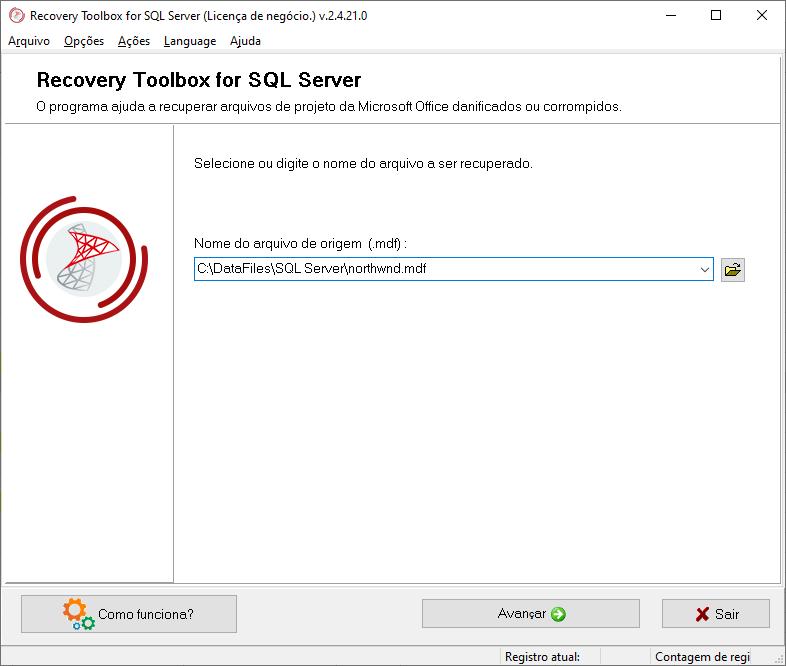 A utilidade mais acessível e simples para esses objetivos é o Recovery Toolbox for SQL Server.