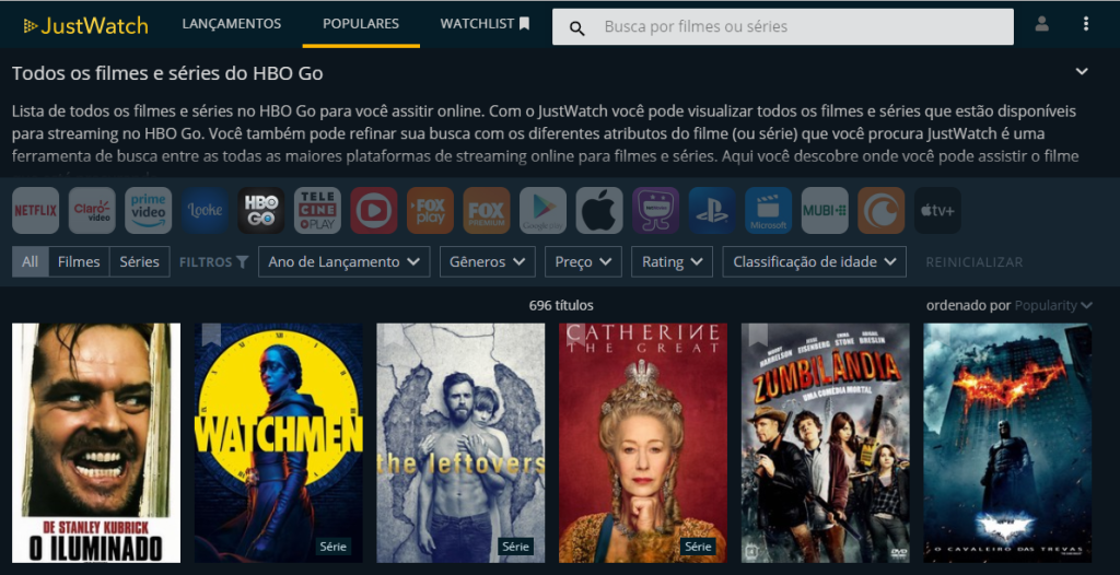 No site do JustWatch é possível selecionar um serviço como o HBO GO para que ele exiba quais filme estão no catálogo