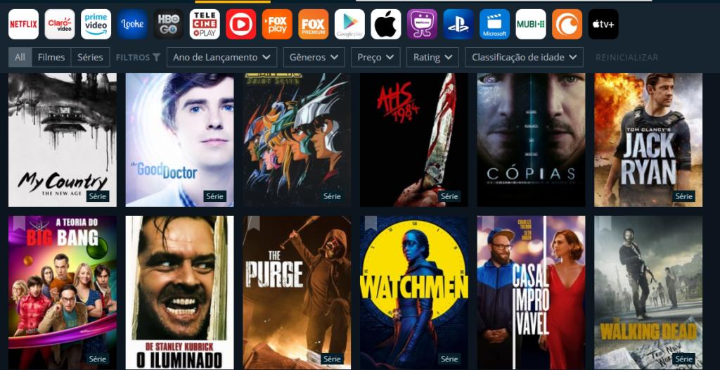 O justWatch possui o catálogo de todos os serviçoes de streaming disponíveis no país