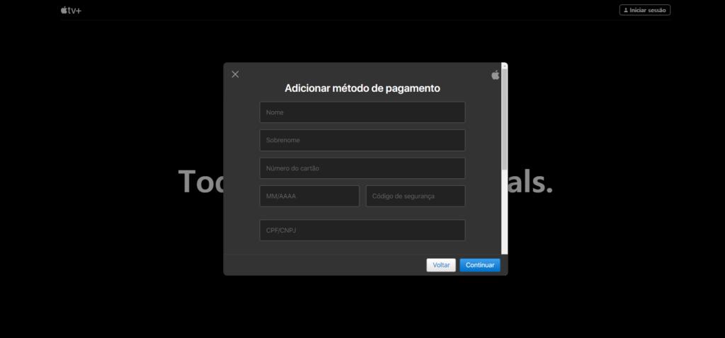 Tela para colocar os dados de pagamento no Apple TV+