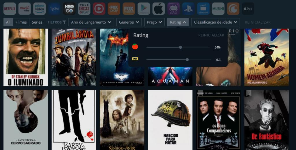 As avaliações são do IMDb e do Rotten Tomatoes para saber as tendências internacionais dos filmes ou séries