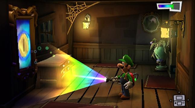 A luz ultravioleta em ação em Luigi's Mansion: Dark Moon, para o Nintendo 3DS.
