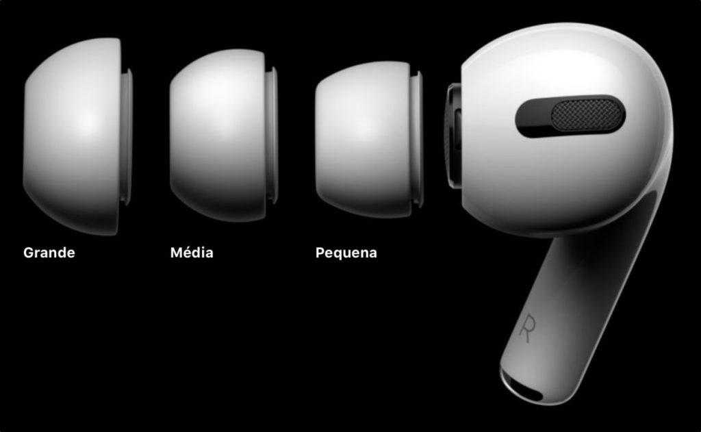 Os novos apple airpods pro são comercializados com três pontas de silicone diferentes: pequena, média e grande