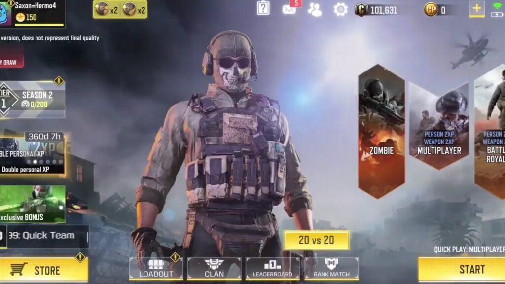 Somente o multiplayer está disponível no início de call of duty: mobile