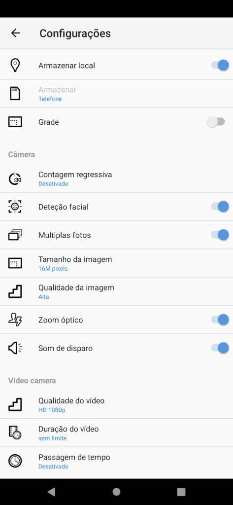 App de câmera do multilaser h