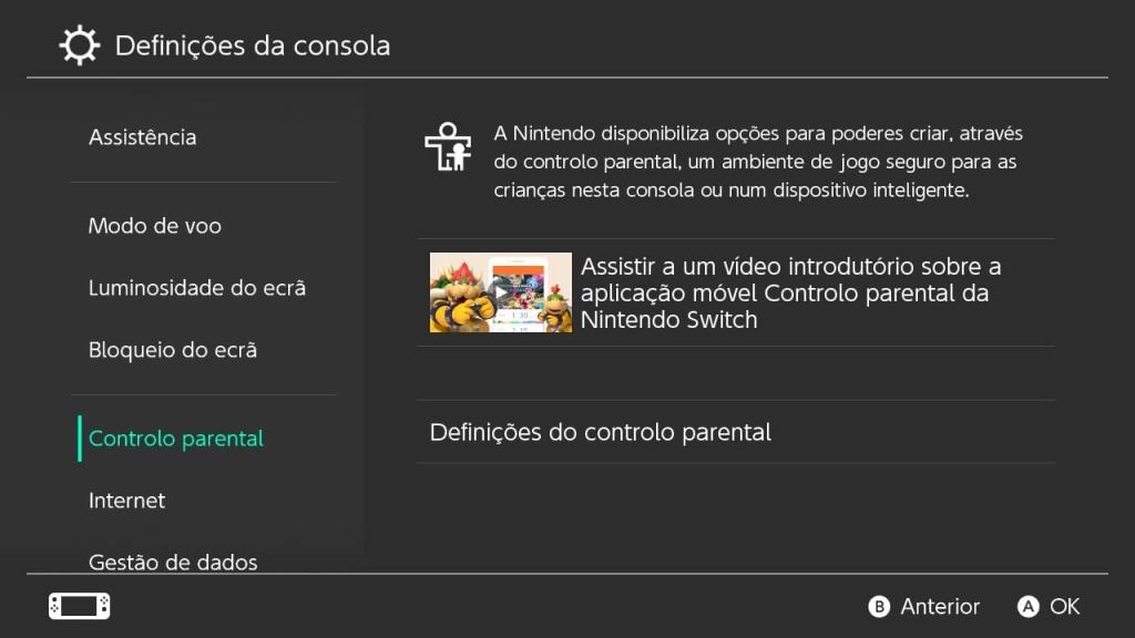Você encontrará as configurações do Controle de Pais diretamente na seção de Configurações de seu Nintendo Switch
