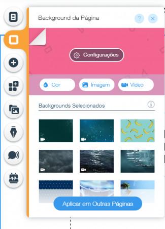 As opções permitem colocarem uma cor, imagens ou vídeos
