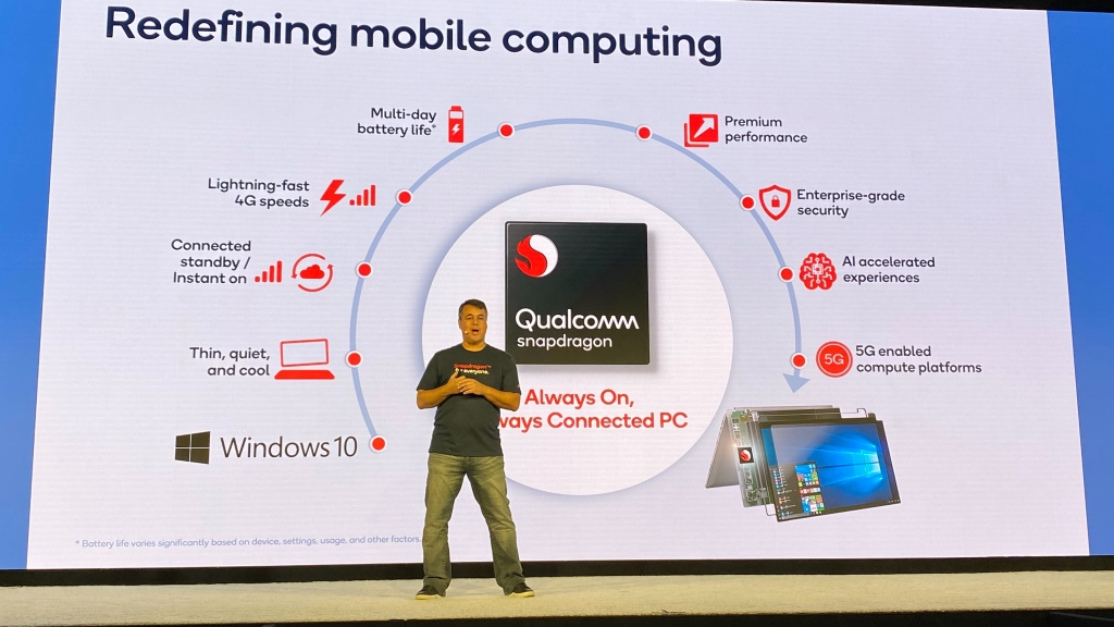 O slide traz todas as características do Snapdragon 8cx, Snapdragon 8c e Snapdragon 7c