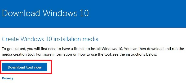 No site da Microsoft é possível baicar a ferramenta para instalação do windows 10