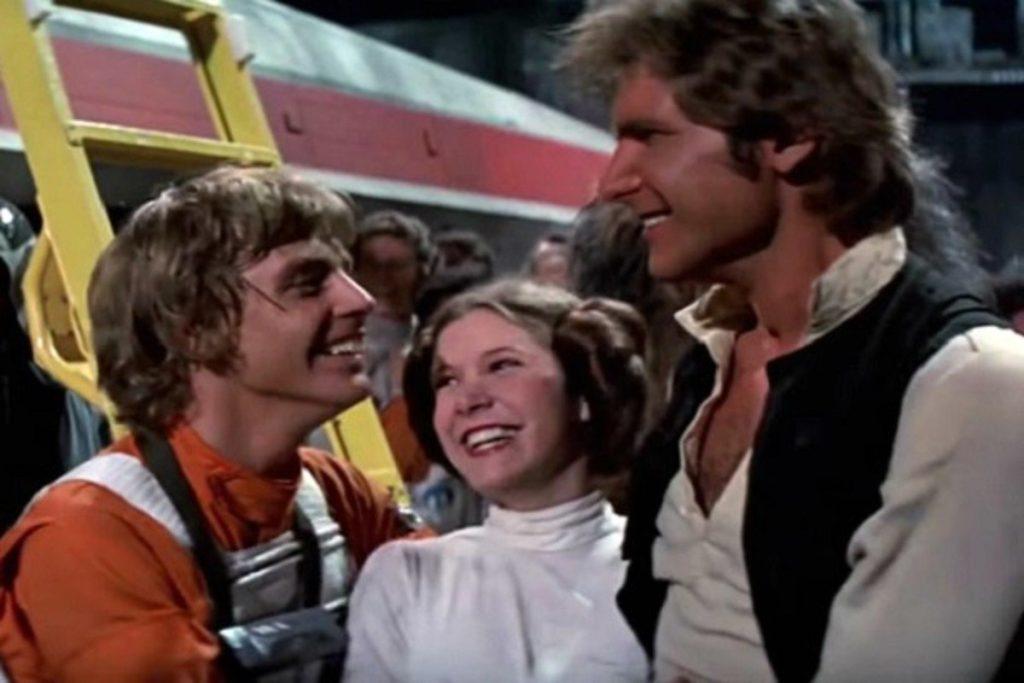Trio de protagonistas da trilogia original de star wars: luke skywalker, princesa leia e han solo